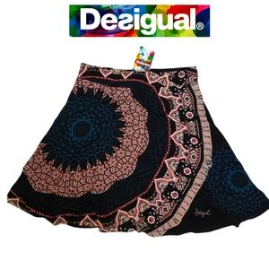 DESIGUAL Flared  Mandala Print Skirt